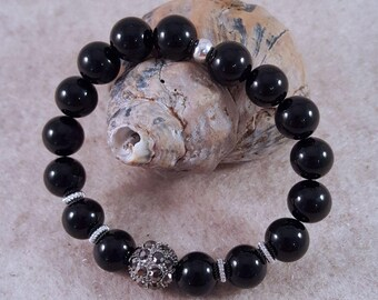 Precious stone bracelet with Onyxperlen, Strassperle and intermediate parts made of 925 silver
