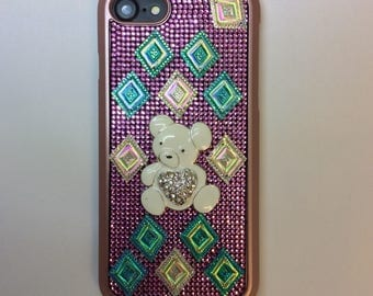 pink teddy bling iphone case
