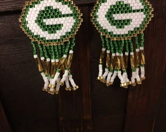 Green Bay Packer Beaded Earrings