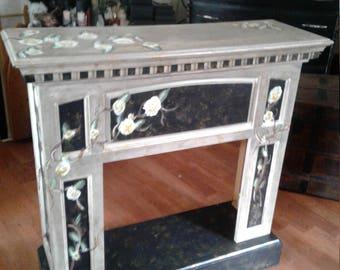 Decorated Hardwood Fireplace Mantle - Handpainted