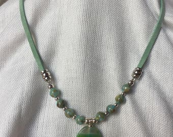 Green and Silver Bead and Suede Necklace
