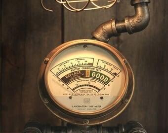 Steampunk Industrial Desk Lamp -DC Meter
