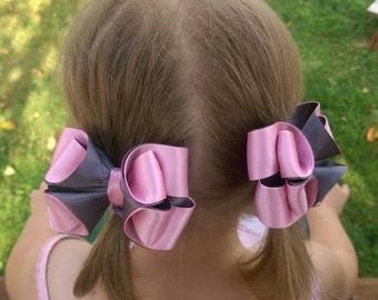 Baby girl boutique hair bow lot Big pink hair bow set Toddler hair band bow Hairbow for girl Over the top bow Satin Birthday outfit