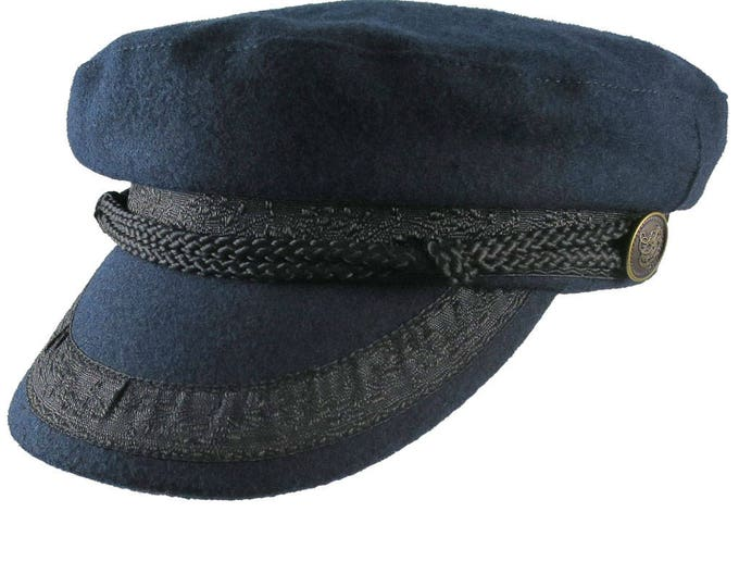 Navy Blue Melton Greek Fisherman's Fashion Cap Size Large