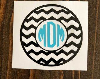Chevron Two-Color Personalized Monogram Decal