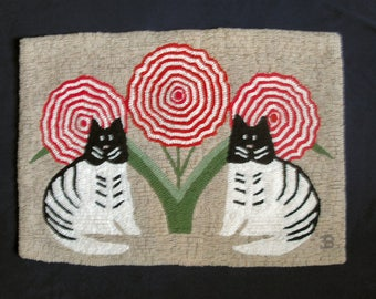 Deco Cats Primitive Hooked Rug