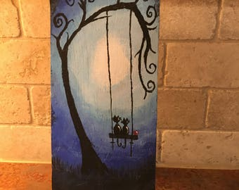 Hand painted cats in love on a swing wood sign