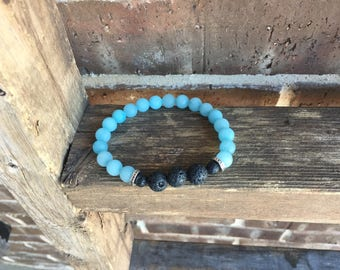 Large Wrists-Dyed Jade Gemstones and Lava Essential Oil Diffuser Bracelet