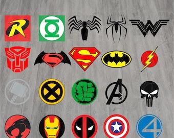 Superhero Logo svg, Superhero svg, Spiderman svg, Batman svg, Logo clipart, Eps, Dxf, Svg,Png, Instant download, Advengers svg, Superman svg