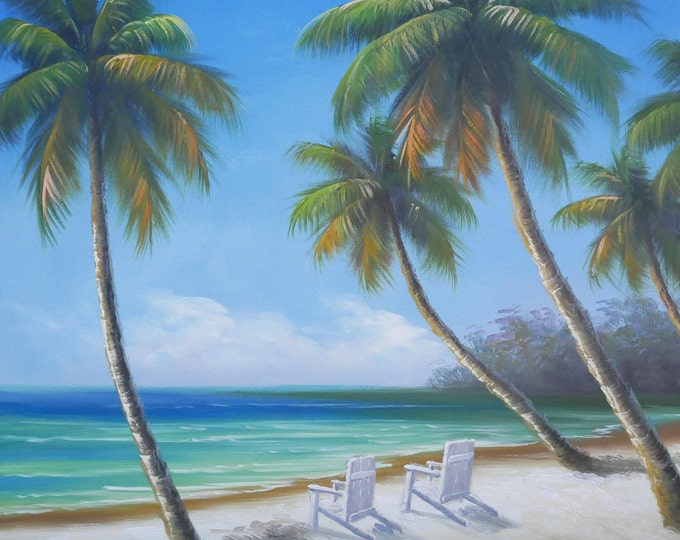 Tropical ocean OIl Painting Canvas Art Wall Decor Hawaii Bahamas Vacation