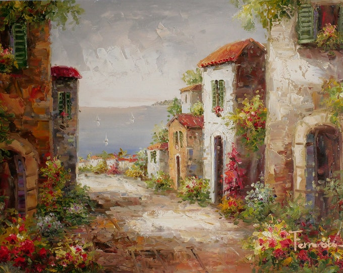 Italian Tuscan Art Mediterranean Painting Lake Garda Oil on Canvas  Wall Art Beautiful Decor