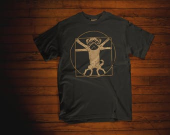 Funny Pug T Shirt - Vitruvian Pug Shirt - Pug Gifts - Pug Lover Gift