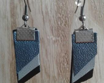 Leather, glitter, grey black earrings