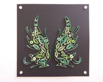 Handmade quilled card of wings