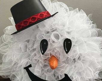 Snowman Wreath - Christmas Wreath - Decomesh Wreath - Front Door Wreath - Winter Wreath - Frosty the Snowman Wreath