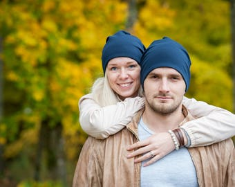 Navy blue unisex beanie hats Set of 2 hats Matching couple beanie hats Adult scull hat Men slouchy beanie hat Women slouchy jersey beanie