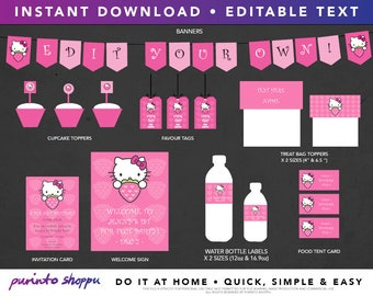 Hello Kitty Birthday Party / Baby Shower Printables - INSTANT DOWNLOAD - Fully EDITABLE text