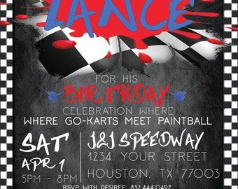 Go-Kart Meets Paintball Digital Invitation