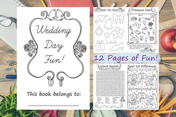 12 Page Wedding Day Activity Book Download Coloring Colouring Kids Instant Pack Quiet Wordsearch Big LGBT Busy