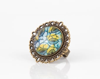 Fabric blue and yellow Wax #1277 cabochon ring