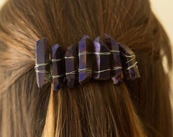 Purple Crystal Rock Hair Barrette