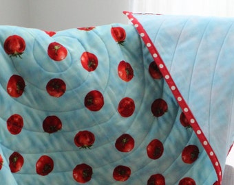 TOMATOES, Baby Quilt, Handmade, toddler quilt, PERSONALIZE, Red, bright, colorful,  lightweight, reversible, blue flannel back, tablecloth