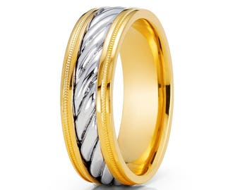 Braid Design 14K Yellow Gold Wedding Band & White Wedding Band Unisex Wedding Band Dome