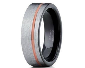 Grey Tungsten Wedding Band Rose  Gold Tungsten Carbide Ring Men & Women Black Wedding Band Engagement Ring