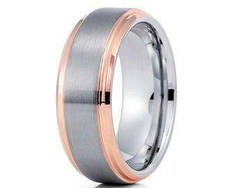 Gray Tungsten Wedding Band Rose Gold Tungsten Ring Anniversary Band Men & Women Tungsten Carbide Wedding Band Brush