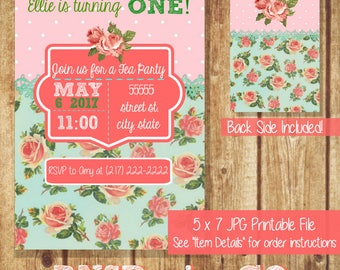 Rose Tea Party Invitation - Party Invitation - Birthday - Baby Shower - Bridal Shower - Printable Invitation