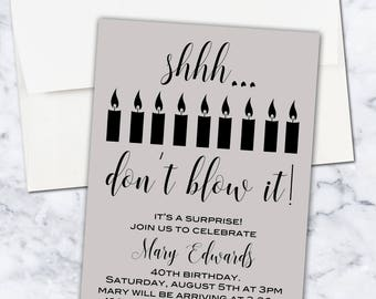 Don't Blow It Surprise Birthday Invitation, 5x7, Digital Download, Gender Neutral