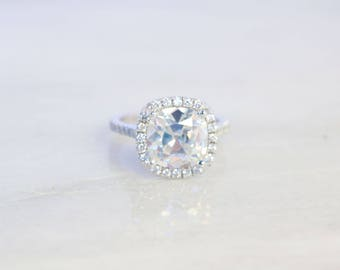 Forever One Moissanite Engagement Ring- 4ct - 9mm - Cushion Cut Moissanite Halo Engagement Ring