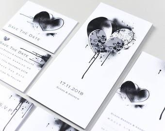 Monochrome Hearts Invitation