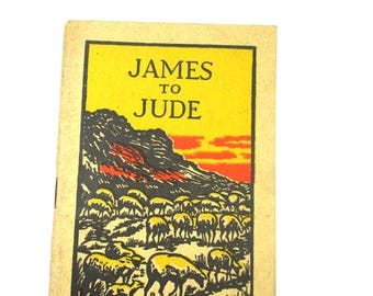 1939 Antique James to Jude Booklet,Vintage The General Epistles of James, Peter,John,Jude, American Bible Society, Holy Land Plates