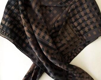 Urban Geometric hand printed silk scarf square check and stripe design charcoal dark grey, dark navy blue and beige, light brown, gold tones