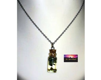 """Necklace made of Glass Vial - Bottle Cork with Lavender and Extra Virgin Olive Oil Locket Potion- 18"""" Stainless Steel"""