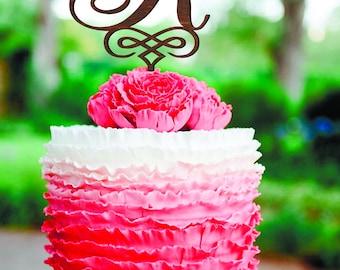 Letter R Wedding Cake Topper Initials Cake Topper Single Letter Personalized Cake Toppers Gold Cake Topper Wooden wood Monogram R letter