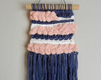 Pink & Blue Handwoven Weave | Wall Hanging