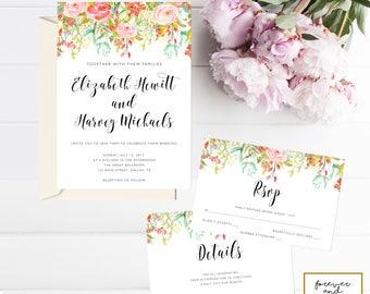 Wedding Invitation Template, Wedding Invitation Packages, Downloadable Wedding Invitation, Printable Wedding Invitation, Instant Download