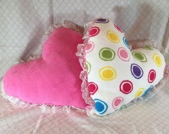 Plush Heart Pillow with Lace Trim   Pink / Multi Color Polka Dots on Other Side