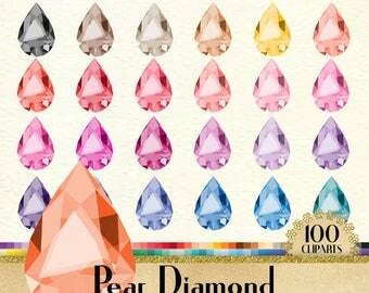100 Pear Diamond Clipart, Diamond Clipart, Pear Clipart, Valentine Clipart, 100 PNG Clipart, Planner Clipart, Wedding Clip Arts.