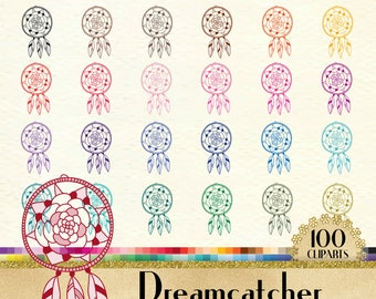 100 Boho Dreamcatcher Clipart, Dream Catcher Clipart, Boho Clip Arts, Feather Clipart, 100 PNG Clipart, Planner Clipart,boho, native america