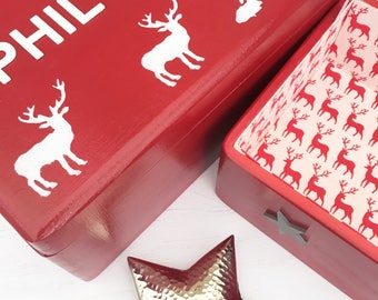 Stags & Stars large lined wooden Christmas Eve box