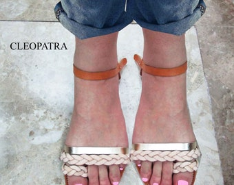 Leather sandals in natural color,Wedding Sandals,Leather handmade greek sandals,Ledersandalen,women's sandals,Sandales de mariage,CLEOPATRA