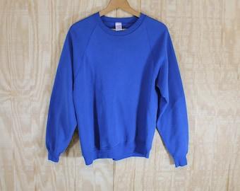 Vintage 1970's 80's Russell Blank Blue Raglan 50/50 Sweatshirt M / L