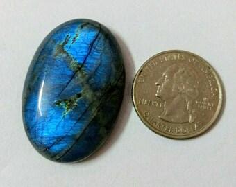 38.20x26.10mm, Ovel Shape, Labradorite/Attractive Blue Flash Labradorite/wire wrap stone/Super Shiny/Pendant Cabochon/Semi Precious Gemstone