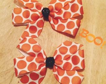Orange Halloween Bows Set of 2