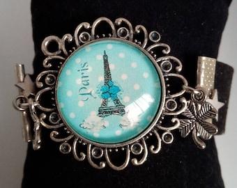 Suede strap artificial cabochon Eiffel Tower