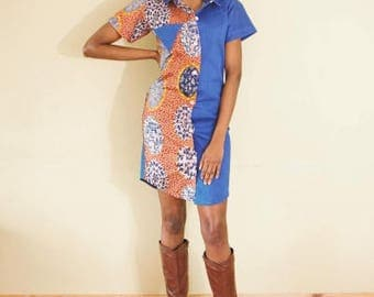 FOLKSHELF African Print Denim Shirt Dress