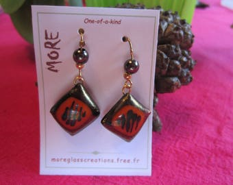 Black metal and orange fused glass earrings